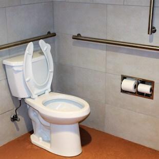 Tiled walls in commercial bathroom