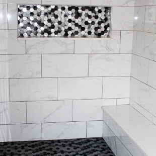 Shower tile installation with bench Dyer Indiana